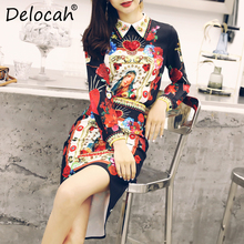 Delocah Women Spring Summer Sets Runway Fashion Designer Long Sleeve Gorgeous Beading Slim Shirt+Slim Lady Skirt Two Pieces Set original new lcd display and touch screen digitizer for htc one m8 free shipping test ok free tracking no