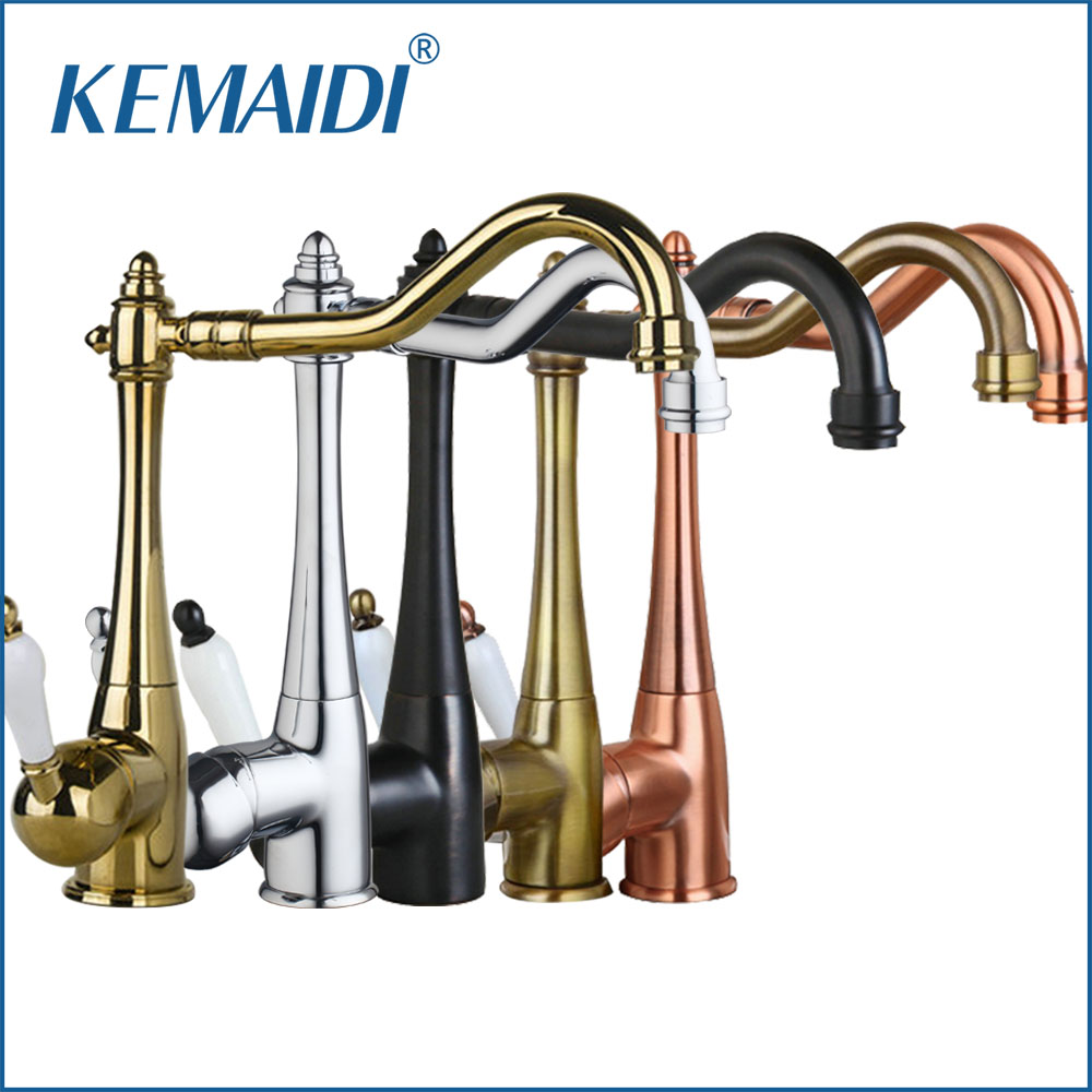 KEMAIDI Kitchen Sink Faucet Swivel Brass Finish Deck Mounted Tap Mixer Taps Antique Copper /Chrome / ORB / Gold Finish kemaidi 3 pcs antique brass
