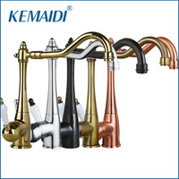 KEMAIDI Kitchen Sink Faucet Swivel Brass Finish Deck Mounted Tap Mixer Taps Antique Copper Chrome ORB