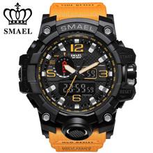 Marka SMAEL Men Sports zegarki podwójny wyświetlacz analogowy cyfrowy LED elektroniczny zegarek z kwarcu 50M wodoodporny zegarek do pływania 1545 zegar tanie tanio 25cm 5Bar Klamra CN (pochodzenie) RUBBER 18mm Akrylowe Kwarcowe Zegarki Na Rękę Nie pakiet 50mm Watches 21mm ROUND Chronograph
