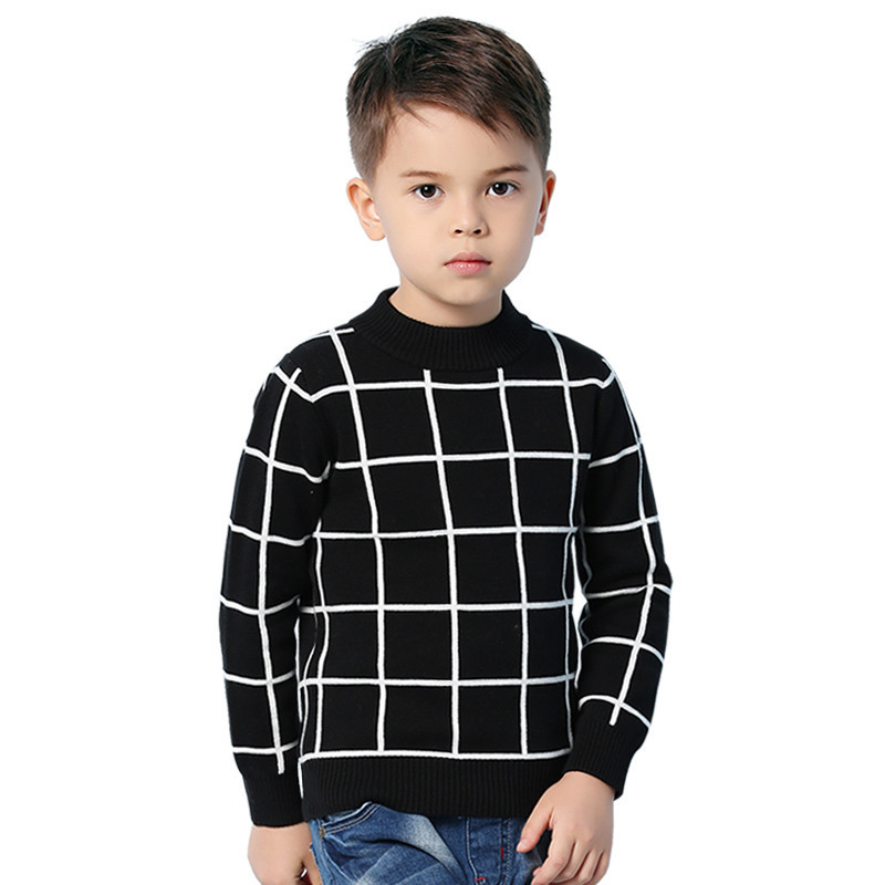 2018 Children's Sweaters Black White Stripe Knit Toddler Boys Knitwear Top Autumn Blue Plaid Kids Pullover Jumper Winter Clothes