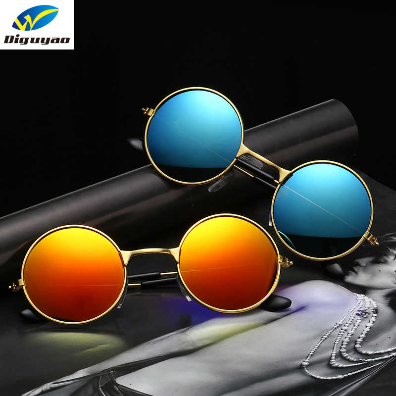 e79ae990c DIGUYAO oculos de sol Boys Girls Alloy Round Frame Multicolour Kids  Sunglasses Brand Anti-Reflective