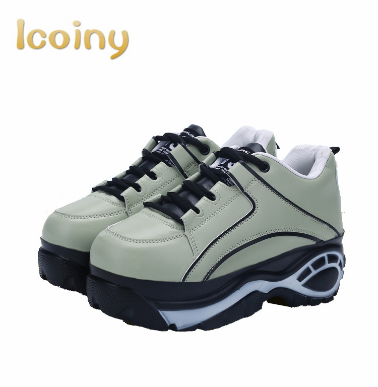 Women Lace Up Increased Flats 2016 Casual Shoes Ladies Harajuku Wedges Platforms Fashion shoes Creepers Footwear Mujer Zapatos women harajuku cartoon lace up wedges platform shoes 2015 casual shoes trifle thick soled graffiti flat shoes ladies creepers