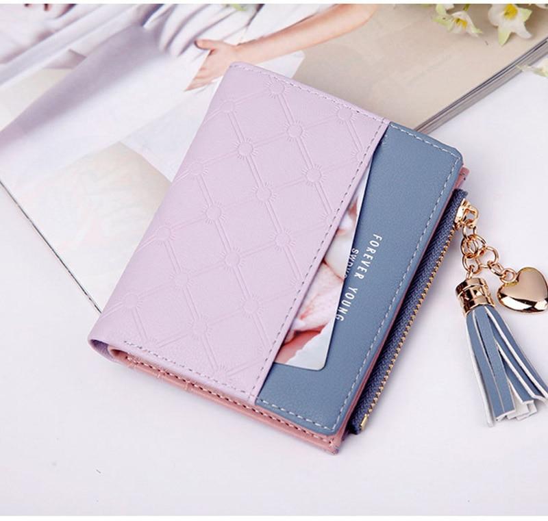Leather Small Wallet Women Mini Women Wallets Purses Female Short Coin Zipper Purse Holder Tassel Zipper Button Bag (14)