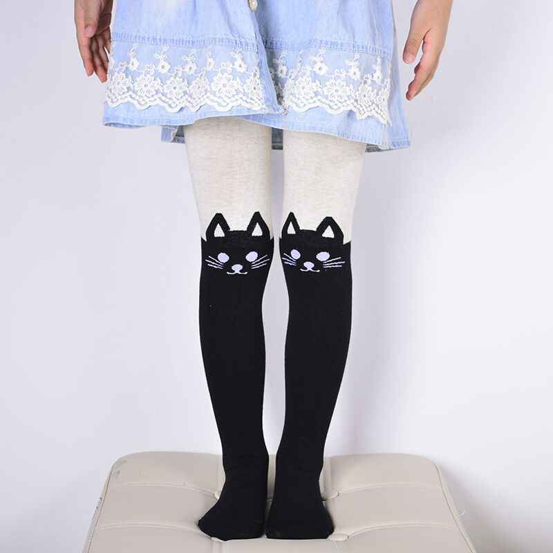 ea20335f090 Cotton kids pantyhose cartoon kitty bunny cat warm knitted tights for children  girls baby stockings spring