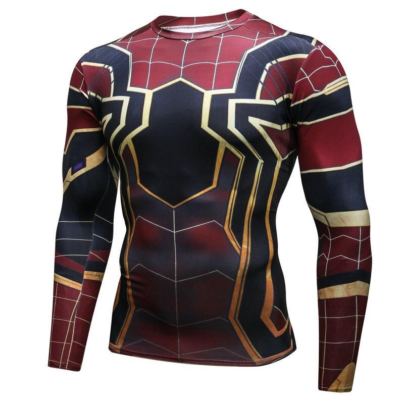 2019 Hot Super Hero 3D T-shirt Avengers Men tights T-shirt Stretch running workout clothes autumn men fitness sports T-shirt