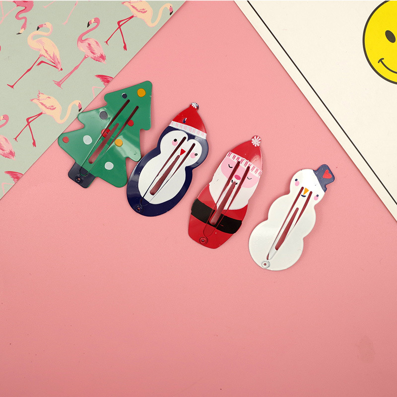 2 PCS New Cute Snowman Christmas Tree Girls Hair Accessories Kids Hairpins Children   Headwear   Baby Headdress Princess BB Clips