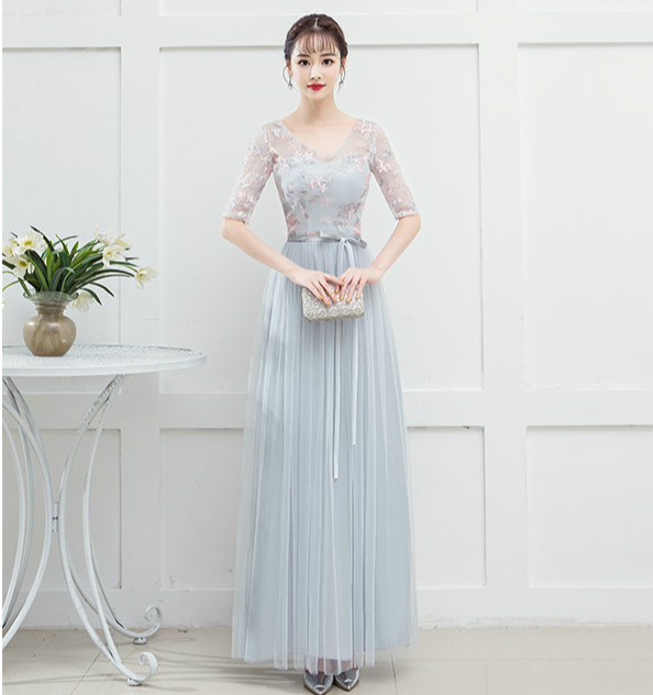 V-neck Blue Grey Bridesmaid Dress Vestido Sexy Prom Long Dresses For Wedding Party Special Occasion Dresses Back Of Bandage