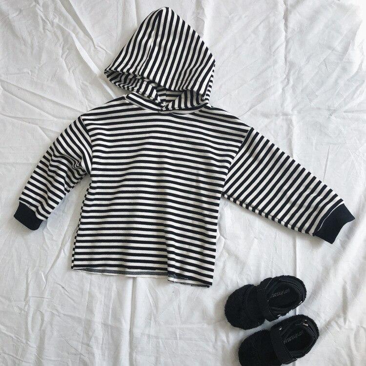 2018 Autmn Kinder Streifen Hoodies Baby Jungen Mädchen Casual Strickjacke Mantel Kinder Lose Lange Hülse Outwear Sweatshirt Für Alter 1-6yrs