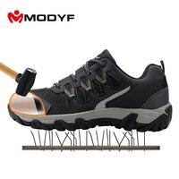 MODYF Для мужчин Сталь носком Кепки Рабочая безопасная обувь Повседневное Светоотражающие дышащий открытый кроссовки проколов защиты, обувь
