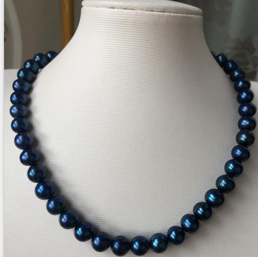 stunning AAA9-10Tahitian round black blue pearl necklace 18inch 925 silver