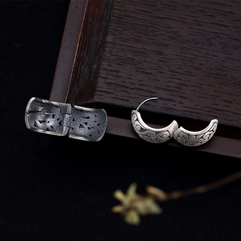 Image 5 - BALMORA Real 990 Pure Silver Hollow Clouds Ethnic Stud Earrings for Women Mother Gift Vintage Elegant Fashion Jewelry BrincosStud Earrings   -