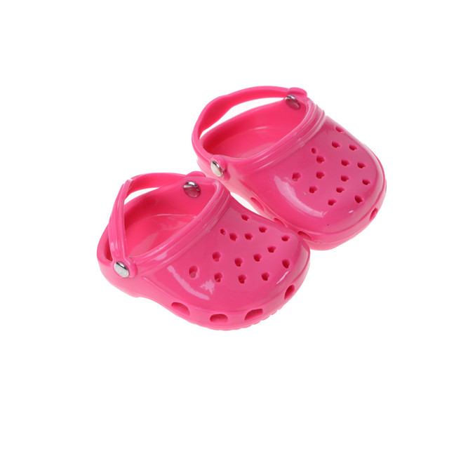 """Pizies Toys Gift Fashion Pink Rubber Beach Sandals Slippers for American Girl Doll Daily Life Necessities Acessory 18"""" 7.3 cm"""
