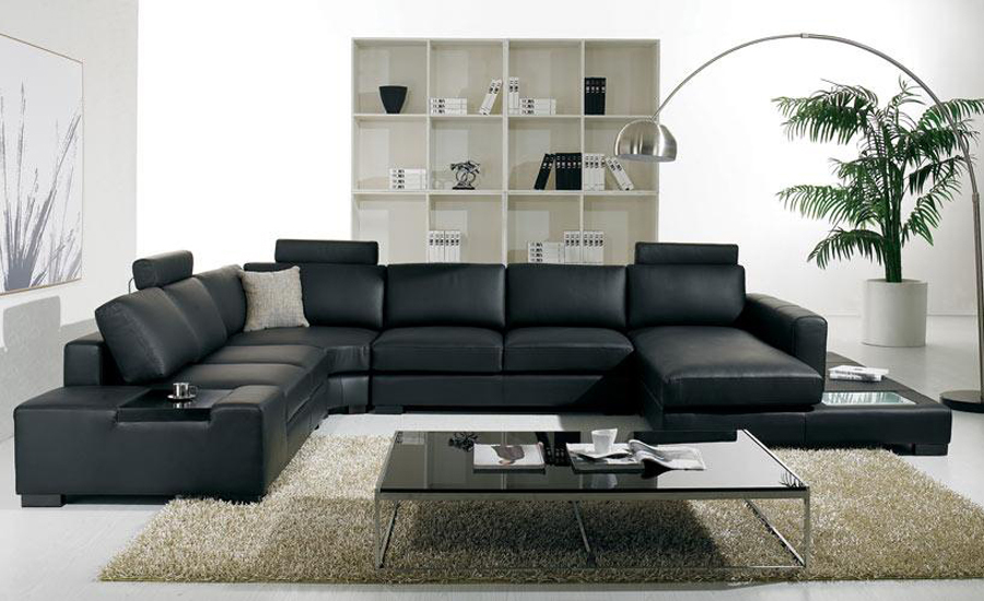 L Shaped Black Leather Sofa Set Kevin Charles Express Modern Large Size U With Light Coffee Table Fashion Simple Corner Living Room Sofas In From