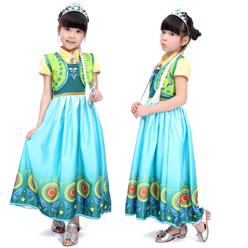 Free shipping  new Anna cosplay princess dress children's clothing  costumes Children's Halloween costumes dance clothes