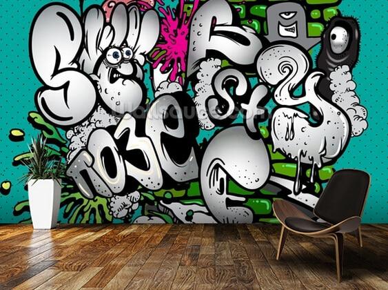 Custom Papel De Parede Infantilgraffiti Writing  D Wallpaper For Children Room Sitting Room