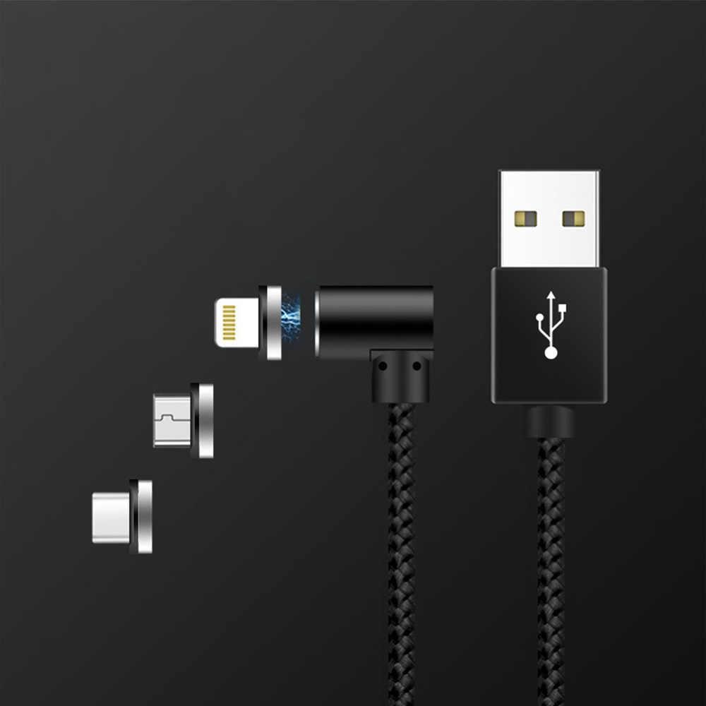 磁気ケーブル 90 度 L 型充電タイプ C mi cro の usb iphone 7 用 × 1 銀河 S9 シャオ mi mi 8 赤 mi 注 5 Huawei 社 P20 Lite