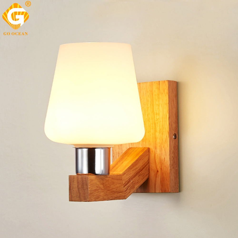 E27 Bulb LED <font><b>Wall</b></font> <font><b>Lamps</b></font> Sconce Home Hotel Bed room Living Corridor Gallery Lighting Modern <font><b>Nordic</b></font> <font><b>Wood</b></font> Glass Decorative Light image