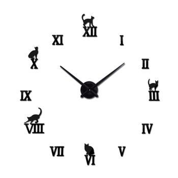 Hot design large decorative wall clocks brief design diy clocks digital watch quartz living room 3d cat wall stickers 7
