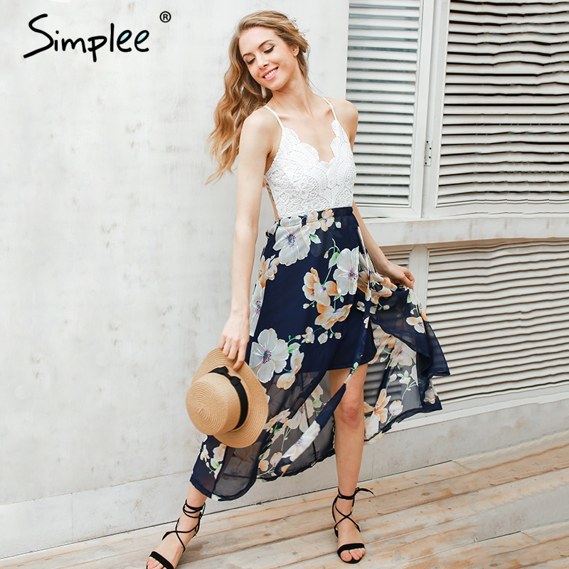 Simplee Sexy print lace summer dress Strap deep v neck high waist beach dresses  women 2017 040f1902aed4