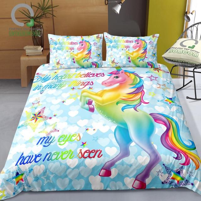 d221290b5 US $32.99 40% OFF|BOMCOM 3D Digital Printing Unicorn Bedding Set Sparkling  Unicorn Colorful Unicorn Honey Heart Glitter Stars 100% Microfiber Blue-in  ...