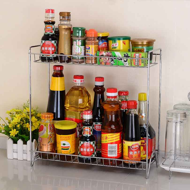 цена на Multi-functional Home Double Layers Spice Rack Metal Kitchen Organizer Seasoning Jar Storage Shelf For Spices Supplier
