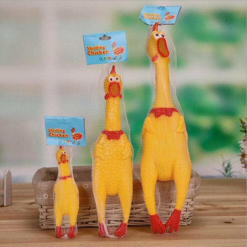 Juntao Funny Chicken Toys Pet Rooster Crows Attract Squeak