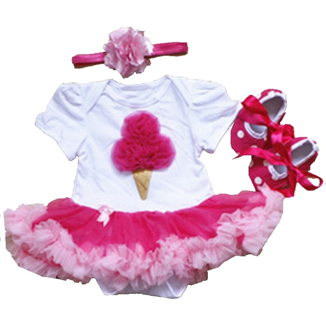 4306f41c05f4bf Fancy Icecream Lace Petti Romper Dress Classic Newborn Tutu Sets Headband  Cribs Shoes New Year Roupa De Bebe Infant Clothes