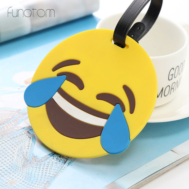 Luggage & Bags Women Men Cartoon Cute Smile Expression Luggage Tag Travel Accessories Cute Portable Suitcase Tag Silicon Name Labels Sale Price Luggage & Travel Bags