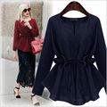 4XL Plus Size Blouses Long Sleeve Tunic Casual Ruffle Women Shrits Blusas O-Neck Vintage Women Peplum Top 5XL Black 5671-1215