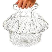 Multifunction Stainless Steel Telescopic Folding Basket chef basket Fried filter drainage rack fruit basket Kitchen Tools B0