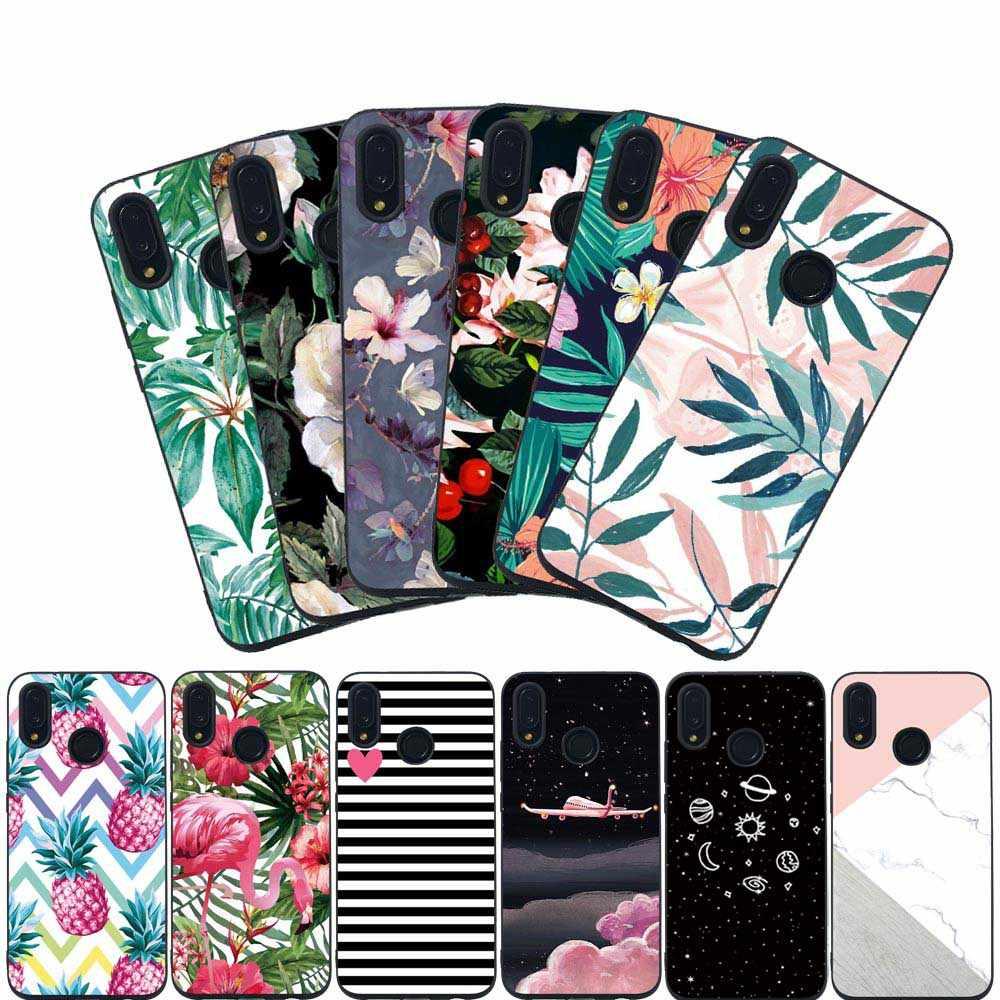 Ударопрочный чехол для телефона huawei P Smart 2019, мягкий силиконовый чехол из ТПУ, цветы на полочки, мраморный чехол с фламинго для P Smart Cover Funda