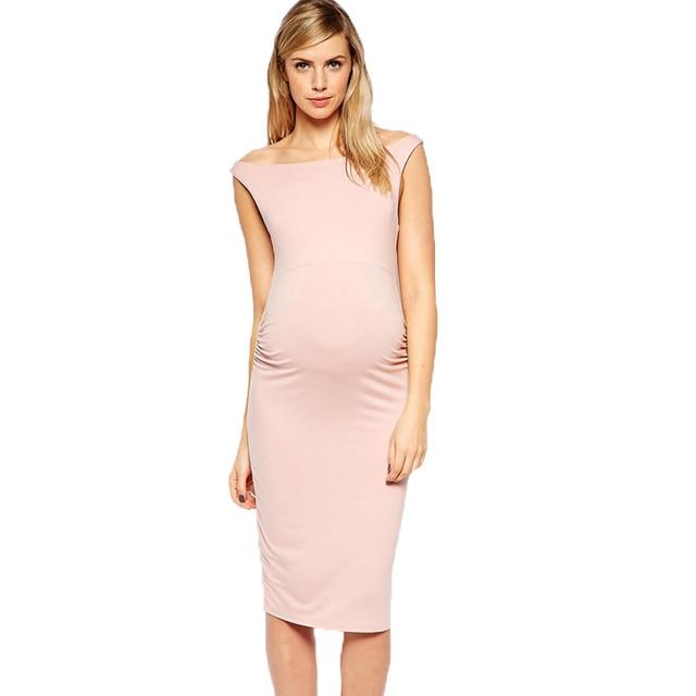 30eae5ce7b756 ليكرا الركبة طول فستان حمل للنساء الحوامل العصرية الوردي أكمام تانك فساتين ملابس  حمل ل تتوقع