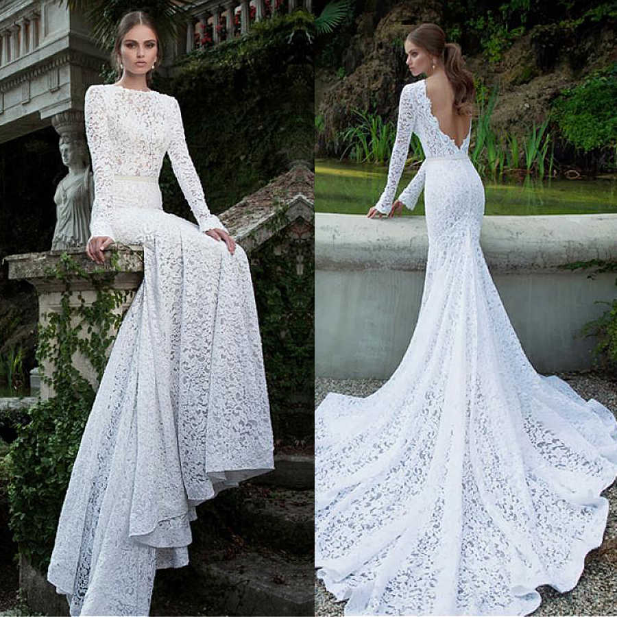 Romantic Lace Bateau Neckline Natural Waistline Mermaid Wedding Dress Long Sleeves Open Back Bridal Gowns Vestido De Noche Wedding Dresses Aliexpress