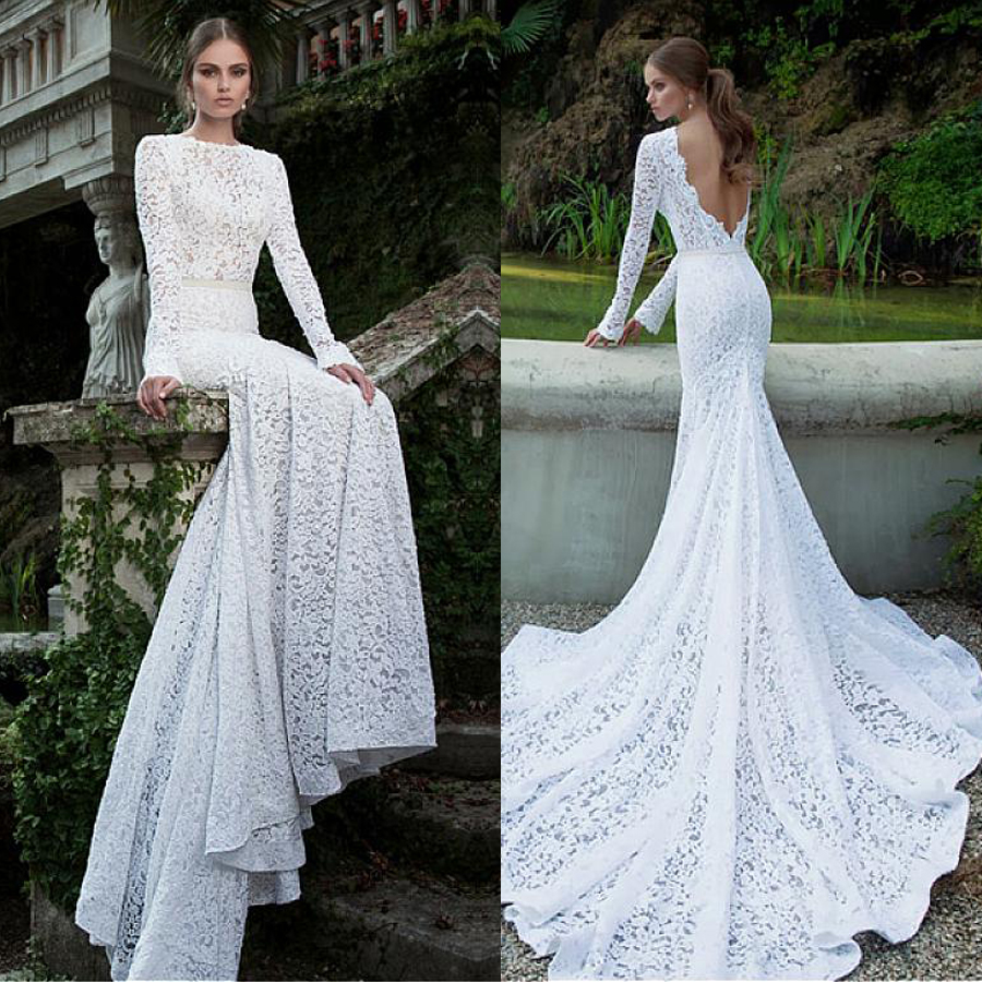 Romantic Lace Bateau Neckline Natural Waistline Mermaid Wedding Dress Long Sleeves Open Back Bridal Gowns Vestido De Noche