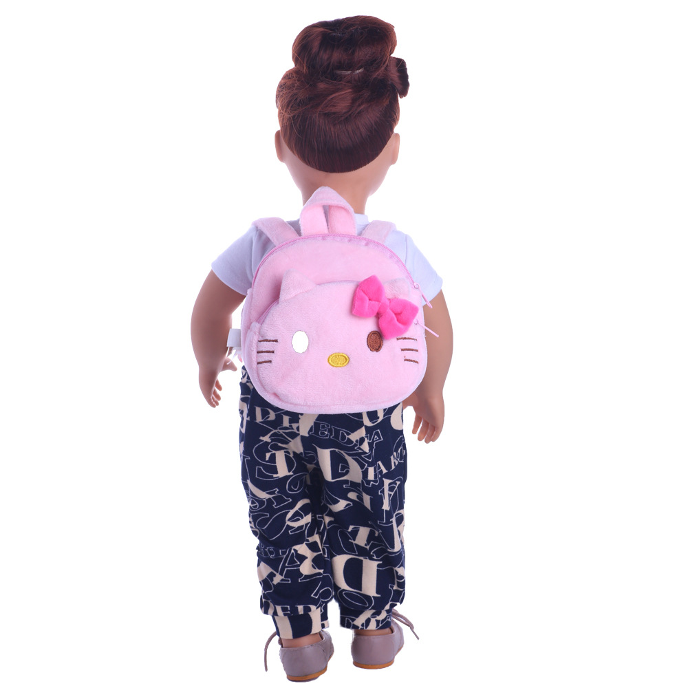Handmade American Girl Doll Clothes Doll Accessories Fashion bag pink hello kitty handbag for 18 inch American Girl og Doll