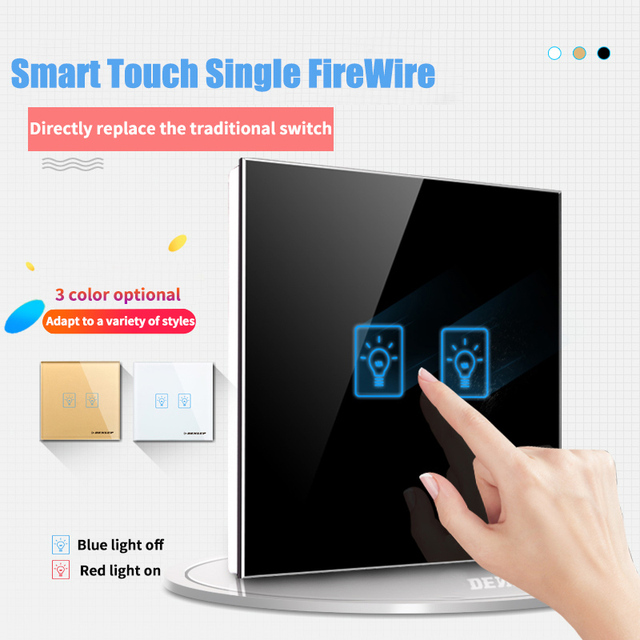 UK Smart Home Light Wall Touch Switch, 86mm Crystal Glass Panel, 2 Gang 1 Way Wall Tact Switch,AV 180 250V, 50 W