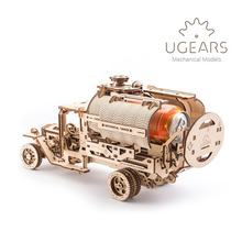 DIY Wooden   Assembled Mechanical Drive Model Adult Toy Puzzle Fire Truck Tanker