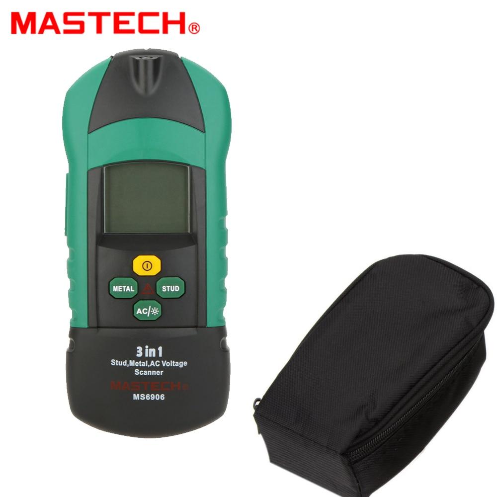 MASTECH MS6906 3 en 1 détecteur de métaux de goujon de Scanner multifonctionnel testeur d'épaisseur de bois de mètre de tension à ca pour la décoration