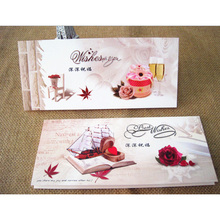 1Pcs/lot 21.5*9.5CM Cute Flowers blessed Folding greeting card Valentine Christmas Party Invitation DIY Letter Greeting Cards