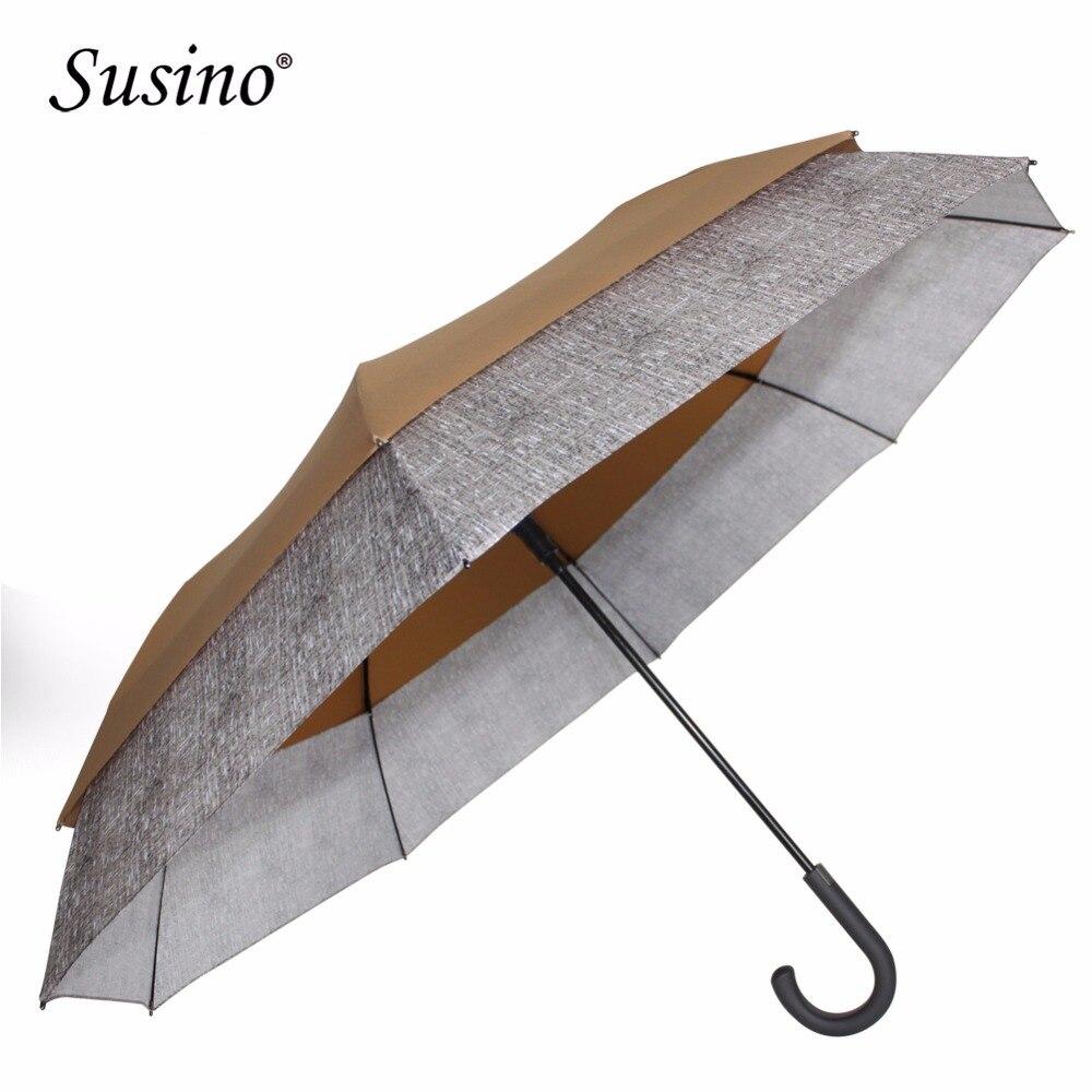 Susino Super grand parapluie adultes parapluies bâton semi-automatique conception magique bleu Long manche coupe-vent rétractable parapluies - 3
