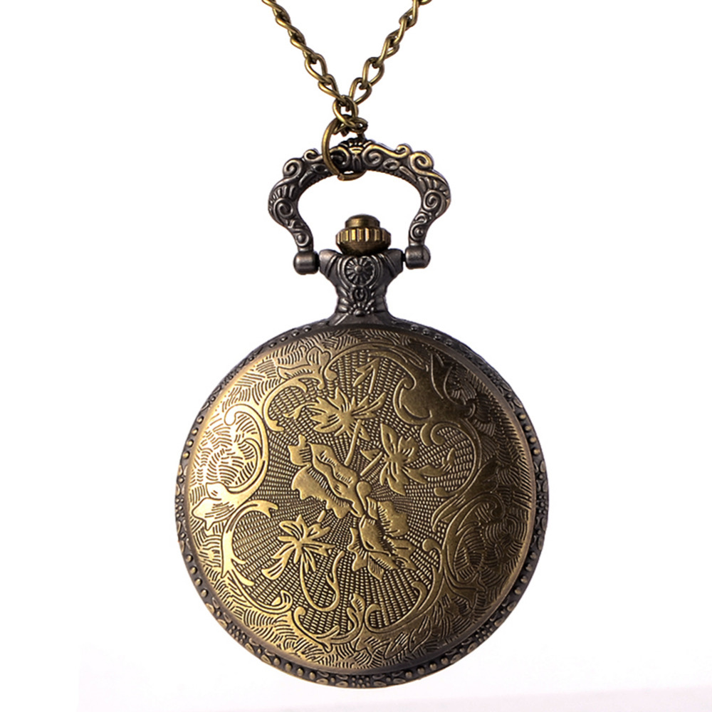 цена на Cindiry Retro Steampunk Spine Ribs Hollow Quartz Pocket Watch Men Women Vintage Bronze Pendant Necklace Sweater Chain Gift P0.5