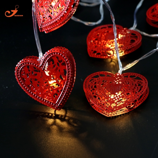 Metal Red Heart Shape String Light 10LED Fairy Lights Valentine Wedding  Lighting Christmas Lights Metallic Battery