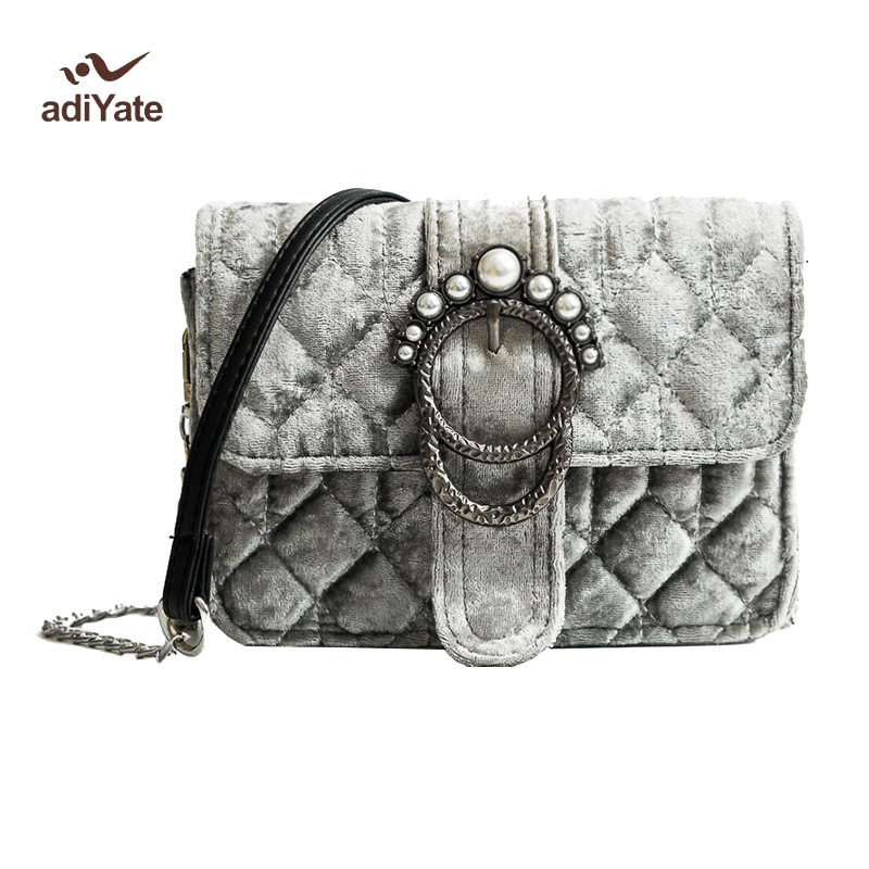 Bolsa Estilo Satchel : Adiyate women bags new o bag velvet pearl winter