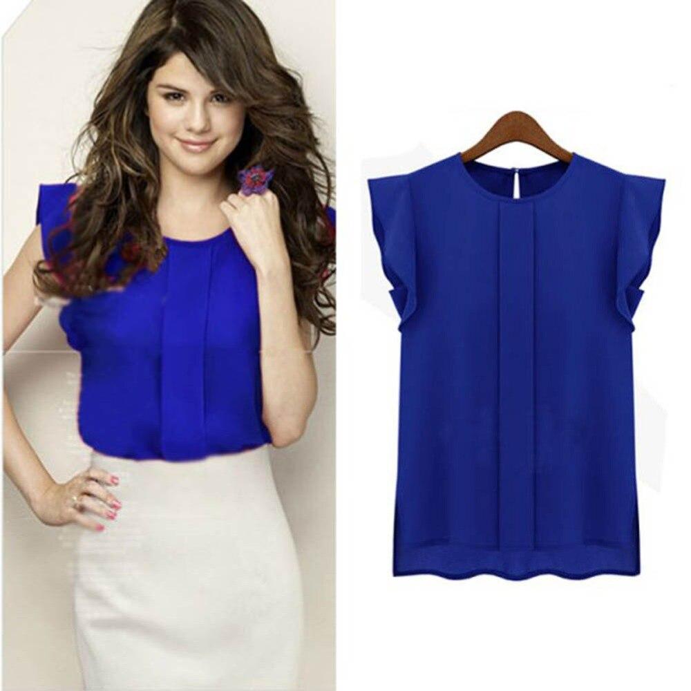 3 kleuren vrouwen T-shirt zomer 2017 korte mouw chiffon effen kleur Tops elegante OL T-shirts