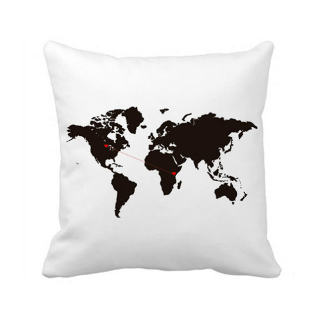 New World Map Cushion Cover Love Throw Pillow Case Country To