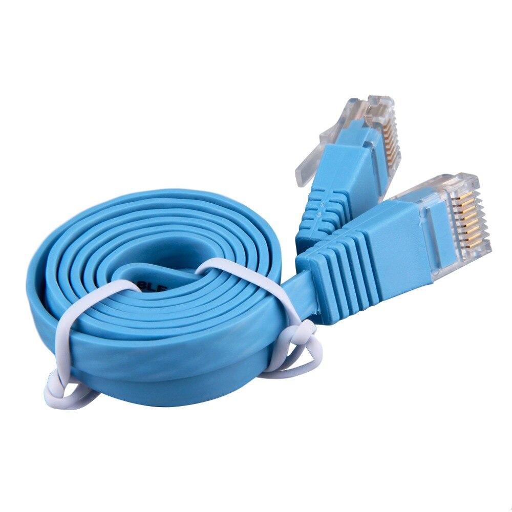 00828f21594b2 1 sztuk RJ45 CAT6 8P8C Płaski kabel sieciowy ethernet Sieci przewód LAN 1 m  Kabel Niebieski