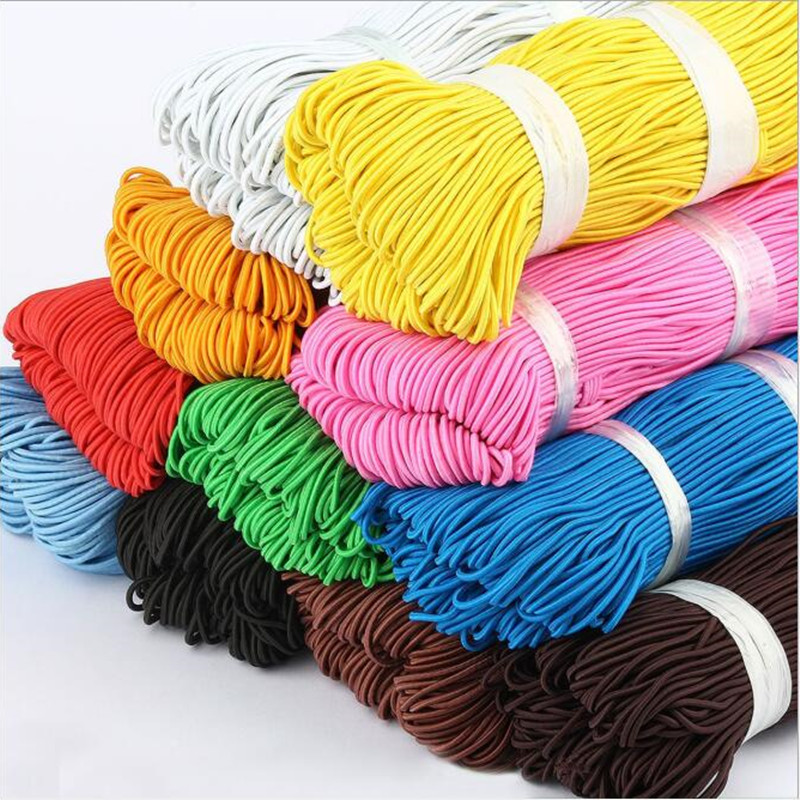 10 Yards 1.5mm Colorful High-Quantity Round Hair Elastic Band Elastic Line Elastic Rope Rubber Waist Band DIY Sewing Accessories
