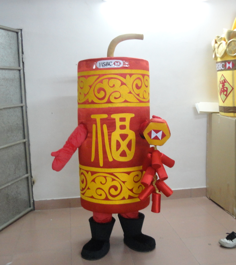 High quality Cool Red Firecracker Firework Banger Cracker Squib Petard Mascot Costume With Fat Cylinder Body Yellow Dress
