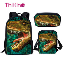 Thikin Children Dinosaur School Bag Set for Boys Girls Teenagers  Primary Lunch Pen Bags Backpack Kids Book Travelbag